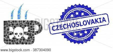 Vector Collage Poison Tea, And Czechoslovakia Corroded Rosette Stamp Seal. Blue Seal Has Czechoslova