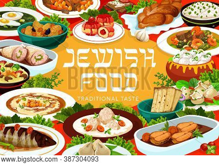 Jewish Food Restaurant Meals Menu Vector Banner. Fish Soup, Jellied Pike And Stuffed Chicken, Cholen
