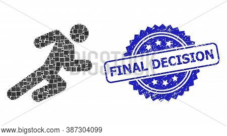 Vector Collage Running Man, And Final Decision Scratched Rosette Stamp Seal. Blue Stamp Seal Has Fin