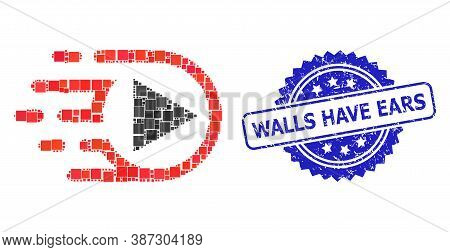 Vector Mosaic Play Function, And Walls Have Ears Grunge Rosette Seal. Blue Stamp Seal Has Walls Have