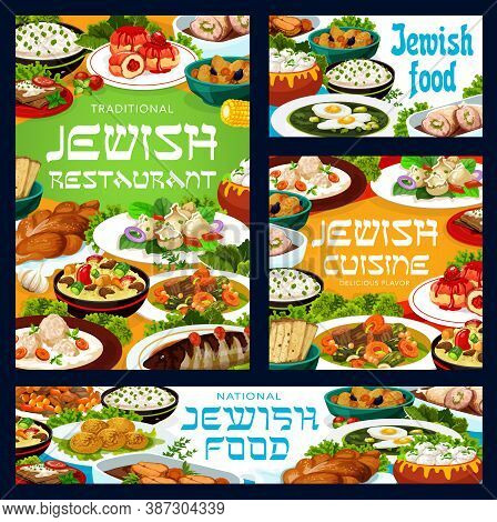 Jewish Cuisine Food Vector Banners. Sorrel And Fish Soup, Lamb With Couscous, Cholent Stew And Sufga