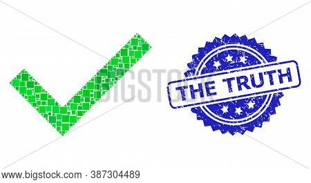 Vector Collage Yes Tick, And The Truth Corroded Rosette Seal Imitation. Blue Stamp Seal Includes The