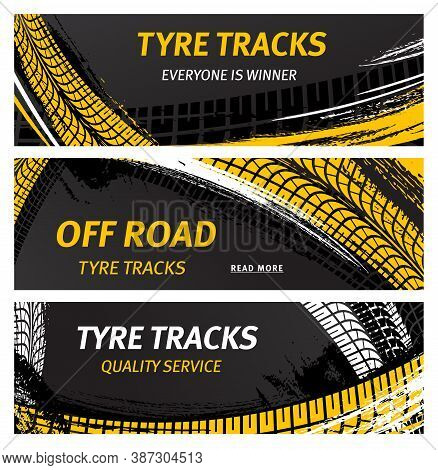 Tyre Tracks, Off Road Tire Prints Vector Car Grunge Tread Abstract Marks. Rally, Motocross Bike Prot