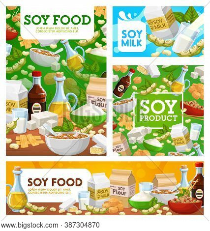 Soy Food, Soybean Vector Sauce, Milk, Meat And Tempeh, Tofu, Flour And Sprouts With Noodles. Oil, Be