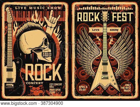 Rock Fest Posters And Flyers, Concert Music Band Festival, Vector Grunge Vintage Skull And Electric