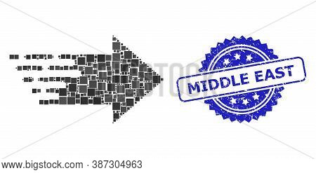 Vector Collage Right Arrow, And Middle East Dirty Rosette Seal Print. Blue Stamp Seal Includes Middl