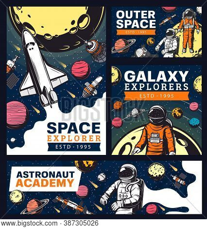 Astronaut Academy, Space And Galaxy Exploration With Shuttles Retro Banners. Vector Galaxy Expeditio
