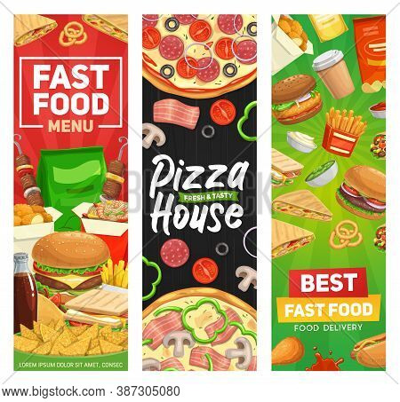 Fast Food Banners, Burger Fastfood Menu, Vector Restaurant Hamburgers Meals, Sandwiches And Drinks.