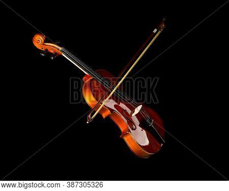 Brown Wooden Fiddle Or Violin, Classic Musical Instrument, With Bow Isolated Over Black Background,