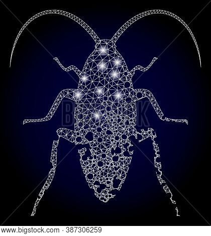 Glare Mesh Polygonal Damaged Cockroach With Light Spots. Illuminated Vector Constellation Created Fr