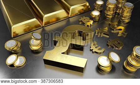 Pound Stands Out From Other Currencies. Pound Strengthening. Gold Bars, Golden Coins And Currency Sy
