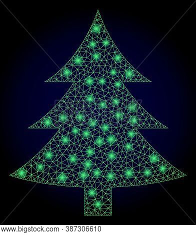 Glowing Mesh Polygonal Fir Tree With Lightspots. Illuminated Vector Constellation Created From Fir T