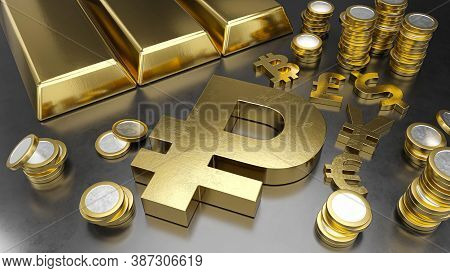 Ruble Stands Out From Other Currencies. Ruble Strengthening. Gold Bars, Golden Coins And Currency Sy