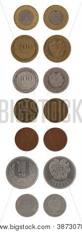 Armenian dram coins isolated on white poster