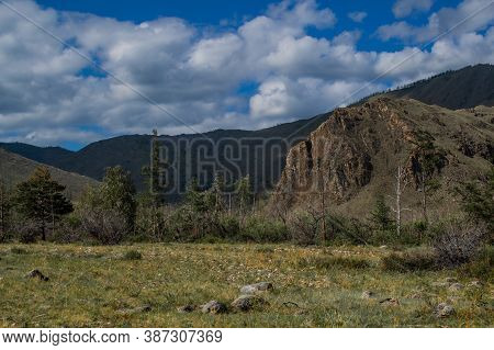 Mountains On Baikal, Sarma. Large Tall Green Grassy Rock. Trees And Bushes In The Foreground In Gry