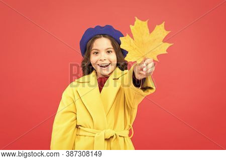 So Beautiful. School Time. Childhood Happiness. Parisian Girl Child In French Beret And Yellow Coat.