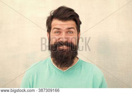 Hipster Appearance. Man Bearded Hipster Stylish Beard Grey Background. Stylish Beard And Mustache Ca