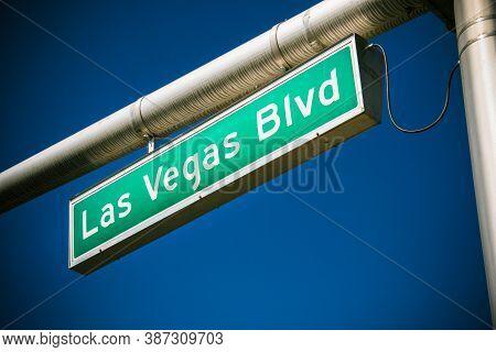 Las Vegas Street Signs In A Clear Blue Sky