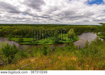 Au Sable River Valley. Overlook Of The Au Sable River In The Huron National Forest In Michigan.