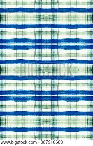 Watercolour Scottish Print. Blue Tartan Material. Seamless Trendy Shirt Design. Buffalo Wallpaper. C