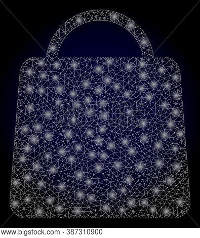 Glowing Mesh Polygonal Shopping Bag With Lightspots. Illuminated Vector Model Created From Shopping