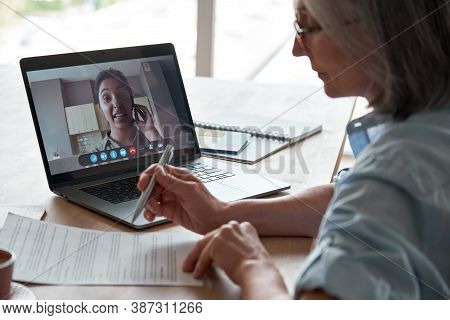 Old Hr Employer Checking Indian Female Job Applicant Cv Resume By Video Conference Call Interview On