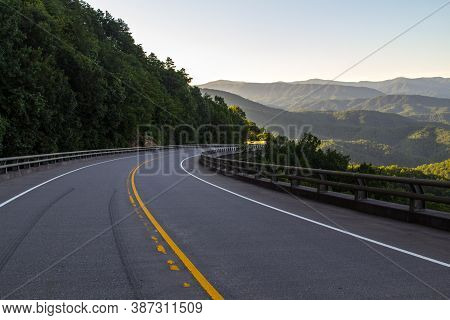 Exploring The Foothills Parkway. Winding Mountain Road Along The Great Smoky Mountains Foothills Par