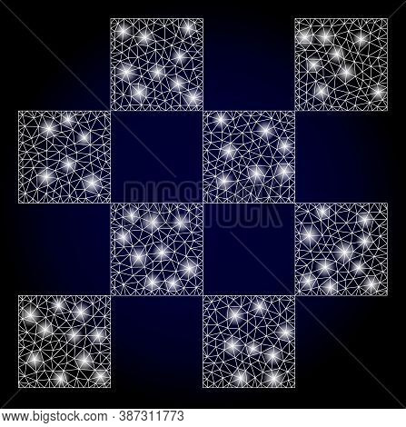 Bright Mesh Network Chess Cells With Lightspots. Illuminated Vector Model Created From Chess Cells I