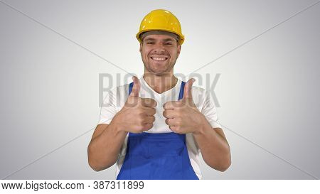Amazed Builder Contractor Is Showing Thumbs Up Happy About Resul
