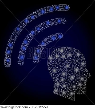 Glowing Mesh Net Telepathy Waves With Glowing Spots. Illuminated Vector Constellation Created From T