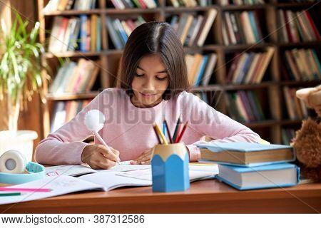 Cute Smart Hispanic Indian Preteen Kid Girl Student, Latin Child Primary School Pupil Studying At Ta