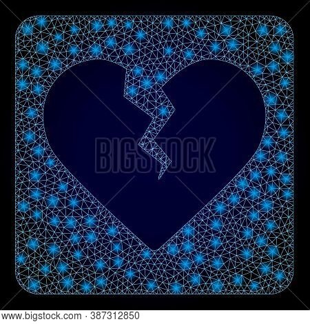 Glowing Mesh Polygonal Divorce Heart With Lightspots. Illuminated Vector Model Created From Divorce