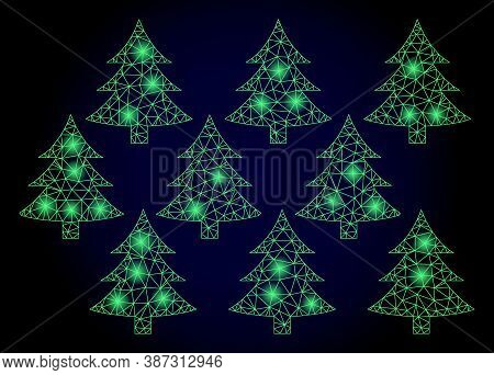 Glowing Mesh Net Fir Forest With Glowing Spots. Illuminated Vector Constellation Created From Fir Fo