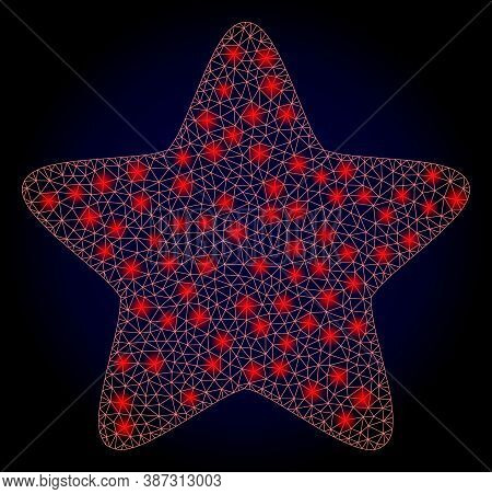 Glowing Mesh Net Red Star With Light Spots. Illuminated Vector Model Created From Red Star Icon. Dar