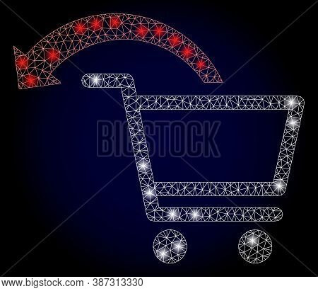 Shiny Mesh Polygonal Cancel Shopping Order With Light Spots. Illuminated Vector Model Created From C