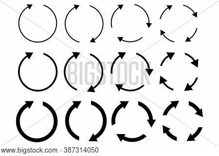 Recycling Icon. Set Of Circular Arrows. Movement Symbol. Reset Button. Vector Illustration.