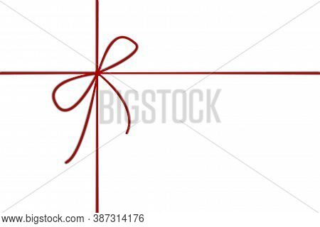 Red Cord On A White Background. Christmas Ribbon For A Gift. Knot On A Red Twine. Vector Illustratio