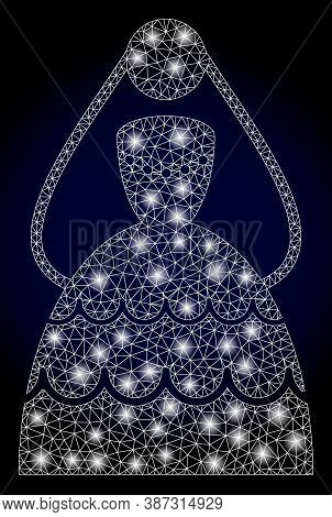 Glowing Mesh Network Bride With Glowing Spots. Illuminated Vector Constellation Created From Bride I