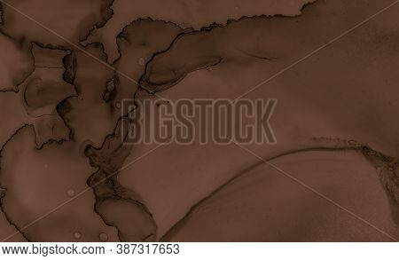 Abstract Chocolate Texture. Brown Creamy Wallpaper. Color Cookie Surface. Watercolour Wave Design. L