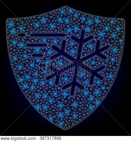 Shiny Mesh Polygonal Frost Protection With Glowing Spots. Illuminated Vector Model Created From Fros