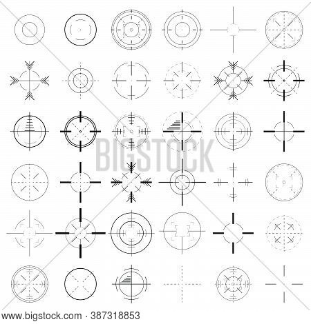 Set Of Crosshairs Icon. Collection Of Targets And Destination Icons. Creative Vector Illustration Of