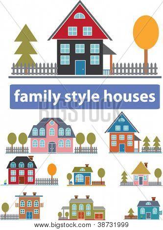 family cartoon houses set, vector
