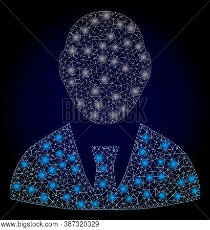 Glowing Mesh Network Boss With Glowing Spots. Illuminated Vector Constellation Created From Boss Ico