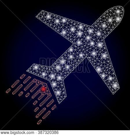 Bright Mesh Polygonal Jet Liner With Light Spots. Illuminated Vector Constellation Created From Jet