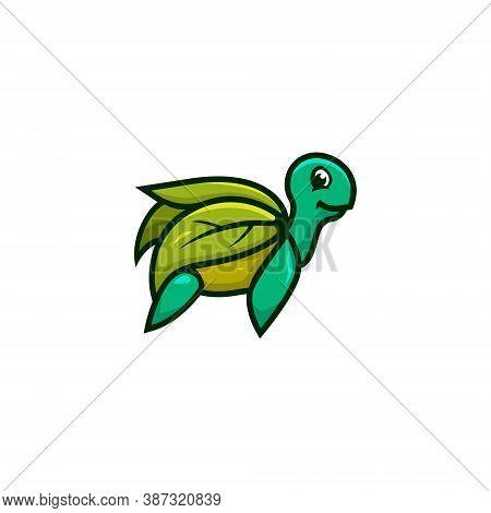 Leaf Turtle Tortoise Nature Wildlife Cartoon Character Mascot Logo
