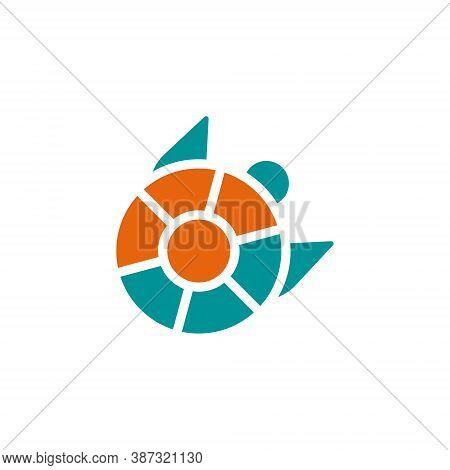 Turtle Tortoise Circle Shell Aquatic Wildlife Abstract Logo