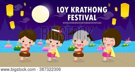 Loy Krathong Festival Banner Concept With Cute Thai Children In National Costume Holding Krathong In