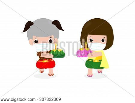 Loy Krathong Festival For New Normal Coronavirus Or Covid 19 And Cute Thai Children In Tradition Cos