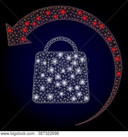 Glowing Mesh Polygonal Refund Shopping With Light Spots. Illuminated Vector Constellation Created Fr