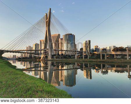 Stayed Bridge In Sao Paulo Across The Pinheiros.